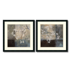 Amanti Art - Laurie Maitland 'Spa Blossom, Large- set of 2' Framed Art Print 25 x 25-inch Eac - The contrast of soft and solid, light and dark make this framed art set by Laurie Maitland an intriguing prospect for your decor.