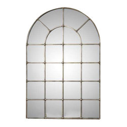 Uttermost Barwell Arch Window Mirror - Hand forged metal finished in an oxidized plated silver. Frame is made of hand forged metal finished in an oxidized plated silver.