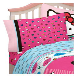 Franco Manufacturing - Hello Kitty Full Bed Sheets Colorful Hearts Bedding - Features: