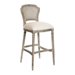 Kathy Kuo Home - Camilla French Country Washed Taupe Linen Bar Stools - Set of 2 - In the language of classic French country decor, the cane back upholstered chair is one of the most eloquent and popular ways to achieve that essential balance between formal and relaxed style. Upholstered in a light linen and gently distressed, this pair are two of our most comfortable bar stool chairs and make a lovely couple whether placed at a counter or bar table.