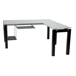 Eurø Style - Ballard L Desk with Keyboard Tray - If you are looking for a way to add style, elegance and comfort to your home/office, this Ballard L Desk with Keyboard Tray by Eur Style is a perfect choice. This elegant piece features Silver printed 10mm thick tempered glass top, wenge-stained wood legs and Silver powder-coated metal stretchers.