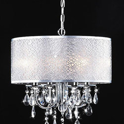 None - Indoor 4-light Chrome/ Crystal/ White Shades Chandelier - The clear crystal and white shade adds elegance to this lighting fixture and coalesces style with elegance. This indoor 4-light chandelier features a chrome finish.