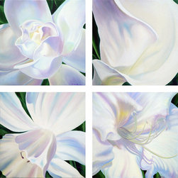 RTZ Company, Inc. - White Flowers Collection, Oil on Canvas - These four beautifully painted flowers on 20x20 inch canvases can be arranged in a variety of designs to fit your wall.