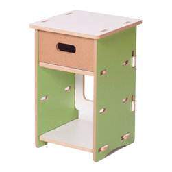 Quark Enterprises - Night Stand, Green/White - This nightstand would surely stand the test of time with a growing child. It's the perfect size for holding a lamp, a few special keepsakes and a revolving stack of bedtime stories.