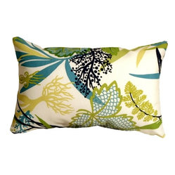 Pillow Decor - Pillow Decor - Waverly Fishbowl Outdoor Pillow - The Fishbowl Aquarium Outdoor Throw Pillow is a versatile outdoor pillow. This pillow can tie in with a variety of color schemes. The pattern depicts underwater plants but does not look overly aquatic. This makes the pillow even more flexible for use in sunrooms, gardens, patios, poolside, beachfront or boats. Made from Waverly Sun N Shade Indoor/Outdoor fabric, this throw pillow resists mold, mildew, soil and stains and is easily cleaned with a mild soap and water solution.