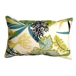 Pillow Decor - Pillow Decor - Waverly Fishbowl Aquarium 12 x 19 Outdoor Pillow - The Fishbowl Aquarium Outdoor Throw Pillow is a versatile outdoor pillow. This pillow can tie in with a variety of color schemes. The pattern depicts underwater plants but does not look overly aquatic. This makes the pillow even more flexible for use in sunrooms, gardens, patios, poolside, beachfront or boats. Made from Waverly Sun N Shade Indoor/Outdoor fabric, this throw pillow resists mold, mildew, soil and stains and is easily cleaned with a mild soap and water solution.