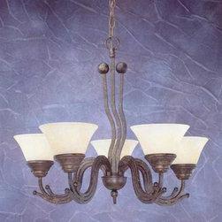 Toltec Lighting - Bronze Finish 5 Light Uplight Chandelier with Amber Marble Glass - 5 medium base 60 watt bulb(s) (not included).