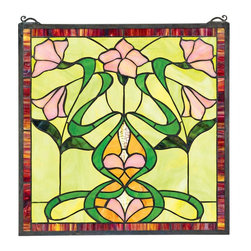 "EttansPalace - Nouveau Lily Stained Glass Window - A stylized vase of pink and gold-toned flowers punctuated with a bounty of green leaves shines in this stunning, 17""-square, Art Nouveau-style window. With precision, each piece of high quality art glass is hand-cut, copper foiled, and individually soldered, taking three full days to create. Scroll bracket and chain included for window hanging. A Basil Street Gallery exclusive. Due to the hand-crafted nature, colors may vary slightly. 17""W x 17""H. 4 lbs."