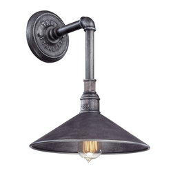 Troy Lighting - Troy Lighting Toledo Transitional Outdoor Wall Sconce X-1772B - The Troy Lighting Toledo Transitional Outdoor Wall Sconce in an old silver finish has a vintage industrial look that is very chic right now. The outdoor wall light fixture is so stylish it could be used indoors in the bathroom, kitchen or mudroom. Look for transitional outdoor wall light fixtures with versatile style for both indoor and outdoor lighting.