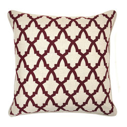 Serafina Burgundy Pillow - Beautifully handmade and hand woven, each pillow is made with a quality fill of 95% feather and 5% down. The Villa Home collection offers a variety of colors, textures and accents that will add a feeling of luxury to your home. The Serafina pillow is 100% Linen.