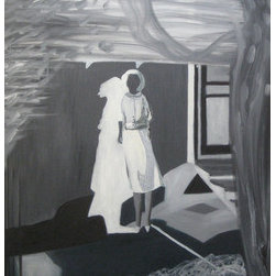 Woman And Her Shadow (Original) by Laura Makinen - This painting was inspired by an old black and white negative I found depicting a woman standing against a wall and the shadow she cast. Because it is sourced from a negative, the lights and darks are reversed, with the shadow being light and the figure's face being dark. I found the original image very mysterious and evocative, and I felt it deserved a painting. I took creative license with some aspects of the image. It is painted in oil on stretched canvas with a simple, thin black wood frame.