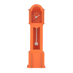 WOLF - Wooden Jigsaw Mini Grandfather Clock, Orange - Easy to assemble (no tools required), this grandfather clock creates a 3-dimensional appearance using four flat wooden cross-sections stacked back-to-front for a life-size pop-up book style construction.