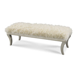 AICO Furniture - Hollywood Swank Bed Bench with Faux Sheepskin - Platinum Finish. Four modern style legs support the amazingly soft faux sheepskin cushion.