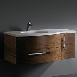 Vigo Industries - Vigo 44-inch Single Bathroom Vanity - Black Walnut - This durable Vigo vanity was constructed with you in mind. No other brand can match Vigo's style, quality and design. The cabinet is made from solid wood in black walnut finish which consists of an anti-scratch paint surface for enhanced durability and frequent use. The single door and sliding drawer feature soft close rails. Features Includes a white recessed ceramic sink Includes a white man-made marble countertop with a single hole for a faucet Includes solid brass, chrome-plated drain assembly All mounting hardware included 5 Year Limited Warranty Faucet NOT included How to handle your counter View Spec Sheet Dimensions    Width Depth Height  Vanity 44 22 18 1/2
