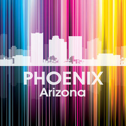 Phoenix Vertical Lined Rainbow Print - Known as one of the cleanest cities in the USA, Phoenix has a style of its own, with the quietness of a sleepy town that's built on shopping, eating, hiking and golfing. Show off a little city pride in digital and photographic layers in a rainbow of color.