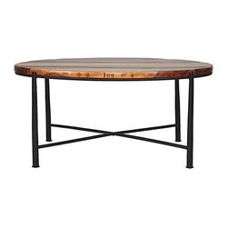 "Somers Coffee Table - I am already tired of all the rectangle industrial ""raw wood"" coffee tables. Here is a pretty round one for a change and it almost has a retro feel to it."