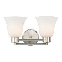 Design Classics Lighting - Modern Bathroom Light with White Glass in Satin Nickel Finish - 702-09 GL9222-WH - Contemporary / modern satin nickel 2-light bathroom light. Takes (2) 100-watt incandescent A19 bulb(s). Bulb(s) sold separately. UL listed. Damp location rated.