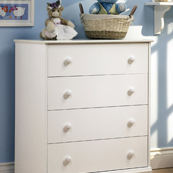 "South Shore - 4 Drawer White House Chest - This Chest w 4 Drawers - White House with country styling is just what your child's room needs no matter the age or the gender. It's neutral enough to go with any d̩cor and offers a great amount of storage space. Neutral white offers modern contemporary style or laid back country living depending on the room you place it in. You can�۪t go wrong with this beautiful chest dresser with four drawers for your child�۪s room. The very sweet and simple design of this children's chest assures that it will always be a tasteful choice for any youth's room, from their baby years even past adolescence. * Manufactured from eco-friendly, EPP-compliant laminated particle boardcarrying the Forest Stewardship Council (FSC) certification. Country Styling. Profiled edges on top. Decorative Kick Plate. Assembly requiredManufactured Wood Panels. Veneer finish. 5 year warranty. 31"" L x 16"" W x 37"" H. Weight: 67 lbs"