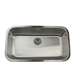 None - Elongated Single Bowl Kitchen Sink - Make cleaning dishes more enjoyable with this undermount single-bowl kitchen sink that features an elongated profile to help you fit more into it. Sound-deadening pads in the walls help prevent bangs and clangs as you clean large pots and pans.