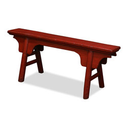 "China Furniture and Arts - Elmwood Farmer's Bench - A signature of southern style, this gate-shaped antique wooden bench was recovered in a small village along the Yangzi river. The distressed red lacquer shows an aged beauty. Versatile for furnishing and decorating, it can be used as bench in the hallway or situated next to a sofa for holding small items such as books, magazines and coffee cups. Constructed with joinery technique. Top surface measures approximately 52""W x 6.5""D. Design and size may vary slightly due to its handcrafted nature. Please let us select for you."