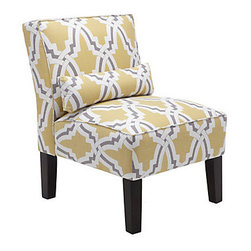 Bailey Accent Chair, Linx - This slipper chair boasts one of my very favorite color combinations; I love the gray and yellow together. A pair of these would add sunshine to any bedroom.