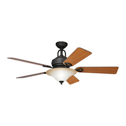 Kichler 3-Light Ceiling Fan - Distressed Black - Three Light Ceiling Fan with a distressed black finish and sunrise marble glass, this fan is a wonderful addition to the Kichler Meredith collection. The 5, 54 blades are pitched 14 degrees and are reversible for your choice of a cherry or walnut finish. The 172mm x 20mm motor will provide the quiet power you need. with full range dimming and intelligent return, the integrated downlight uses 3 60-watt b-10 bulbs. This fan comes complete with the full function cooltouch control system with independent up and down light control and 6 and 12 downrods.