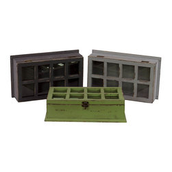 Benzara - Ethnic and ClassyDesigned Set of Three Wooden Cabinets - Add flair to your decor with this amazing set of three wooden cabinets. These cabinets come in three different colors of green, brown and grey. The cabinet has wonderful checked styled glass pattern as its cover. The cover can be lifted with a stylish knob at the bottom. This set of cabinets is an extremely smart choice and a must have in your home. You can use all the three cabinets in one room or place them in three different rooms. It will look very elegant at any place in your interiors. Place this set of wooden cabinets at your home or office and see the difference.This wooden cabinet set is easy to clean and maintain. Your visitors and guests will fall in love with these unique cabinets. You can present this wooden cabinet to your family or friends and they will surely love you for your creative and thoughtful choice. So wait no more and get it now. These three cabinets measure 13.78 inch (width) x8.27 inch (D) x3.55 inch (H) each; Comes in set of three different colors; Checked style glass pattern