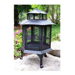Oakland Living - Pagoda Fire Pit in Black - Made of Durable Cast Iron Construction. Fire pits can fit three to five logs or use charcoal for grilling. Easy to follow assembly instructions and product care information. Stainless steel or brass assembly hardware. Fade, chip and crack resistant. 1 year limited. Hardened powder coat finish in Black for years of beauty. Black finish. Some assembly required. 23 in. W x 23 in. L x 32.5 in. H (40 lbs.)This Chimenea fire pit will be a beautiful addition to your patio, back yard or outdoor entertainment area. Adds beauty, style and functionality. Our Chimenea fire pits are perfect for any small space, or to accent a larger space.
