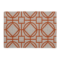 Orange & Natural Modern Trellis Custom Placemat Set - Is your table looking sad and lonely? Give it a boost with at set of Simple Placemats. Customizable in hundreds of fabrics, you're sure to find the perfect set for daily dining or that fancy shindig. We love it in this teal geometric trellis on thick natural cotton. a bold statement of modern meets rustic.