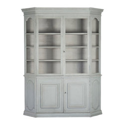 Kathy Kuo Home - Lloyd Duck Green French Country Style Large Curio Cabinet - This stately, stylish antique curio cabinet holds the family china,