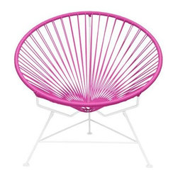 "Innit - Innit Lounge Chair - Pink Weave on White Frame - ""Relax in cool, contemporary style with this hot-weather Innit lounge chair from Innit Designs. Whether enjoying a tropical sunset from the patio, lounging poolside with friends, or simply curling up with a good book, the chair combines an eye-catching design with a fashionable place to unwind. Inspired by the airiness of backyard rope hammocks, the Innit lounge chair uses a traditional Mayan weaving technique to create a modern take on the classic woven chair. The chair's waterproof, UV-resistant vinyl cord comes securely wrapped around its recycled, rust-resistant, galvanized-steel frame, which provides a semi-textured polyester powder-coat for long-lasting durability and good looks from one season to the next. The lounge chair's woven vinyl not only offers visual appeal and breathability, but also exceptional support and comfort (no cushion needed). With its rounded, slightly reclined, hoop-shaped frame and tripod base, the lounge chair adds unique modern flair to almost any living space--both indoors and out--from the sunroom, living room, or bedroom to the back deck, patio, or porch. The seat can also be used interchangeably with the Innit Rocker rocking-chair base (sold separately).Dimensions: 33"""" wide by 33"""" deep by 31"""" high with a 15"""" sitting heightModern lounge chair with woven UV-resistant vinyl cord for breathability and supportRust-resistant, galvanized-steel frame and semi-textured polyester powder coatHoop-shaped frame and tripod base; for indoor/outdoor useWeatherproof, stackable, and easy to clean"""