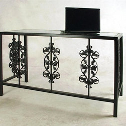 "Grace Collection - Wrought Iron Desk/Bar -""Rose Garden"" (w Glass - Finish: Aged IronThis desk is a stunning ornamental with an heirloom feel.  Rose garden themed insets provide lacy columns supported by a wrought iron frame.  Glass top is included and gives this beautiful piece an open look for display and practical use. * Pictured in Satin Black. This desk is a stunning ornamental with an heirloom feel. Rose garden themed insets provide lacy columns supported by a wrought iron frame. Glass top is included and gives this beautiful piece an open look for display and practical use. 49 in. L x 19 in. D x 29 in. H"