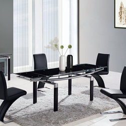 Global Furniture - Global Furniture USA 88DT 5 Piece Black Glass Dining Room Set w/ Black Legs - The table features rectangular frosted glass top which is framed with clear glass and folding sides. The tubular legs are made of silver metal and finished in black which completes the look of your dining or living space