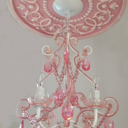 """Ceiling Medallions by Marie Ricci - Ceiling Medallion in pink distressed by Marie Ricci. Cast in lightweight resin from Marie's hand carved original. 18"""" vine ceiling medallion with 4 arm pink chandelier $310. Ships within two weeks. All Marie Ricci Products are Proudly Made in the USA."""