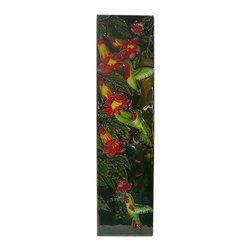 Golden Lotus - Chinese Porcelain Humming Birds Wall Hanging Art - This is a wall hanging art / plaque made of porcelain with colorful flower and bird scenery. Not flat surface