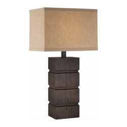 Lite Source - Blog Wood Table Lamp in Dark Bronze Finish w Tan Fabric Shade - Incandescent bulb not included. UL approved. 1-Year warranty. Bulb type/watt: A/25W. Shade dimension: 5.5 in. L x 9.5 in. W x 10.5 in. H. Lamp/fixture dimension: 9.5 in. L x 15.5 in. W x 27.5 in. H (9.5 lbs.). Product Installation Instructions