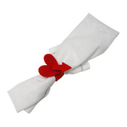 The Felt Store - Felt Napkin Holder - In Love - Bright Red - Our specially designed napkin holders are perfect for different occasions and seasons. The napkin holders are made from our high-quality 3 mm designer felt and measure approx. 10 inches (254mm) in length. Just put it around your napkin and it will easily keep your napkin rolled. Three different unique designs are available: GOOD LUCK - with a four-leaf clover shaped decoration in Apple green, SPRING TIME - a butterfly shaped decoration in yellow, and IN LOVE - a heart shaped decoration in bright red. *NAPKINS ARE NOT INCLUDED*