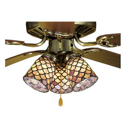 Meyda Tiffany - Meyda Tiffany Fishscale Tiffany Ceiling Fan Light Shade X-86472 - From the Fishscale Collection, this Meyda Tiffany ceiling fan light shade features beautiful detailing despite the seemingly simple design. The scalloped fish scale pattern is highlighted by a dark finish while beautiful Tiffany art glass panels in mauve and beige hues create elegance and appeal.