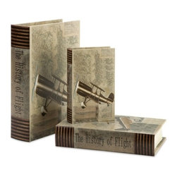 "IMAX - Vintage Plane Book Boxes - Set of 3 - With vintage plane imagery and topographical maps, this set of three book boxes looks great on any bookshelf or side table. Item Dimensions: (1.75-2.25-2.75""h x 8-10.5-12.5""w x 5.25-7-9"")"