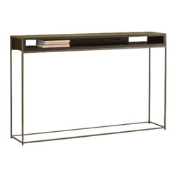 "TFG Furniture - Wabash Storage Console Table - TFG Furniture Wabash Storage Console Table. Wabash Storage Console Table. Slim design offers a balance between style and strength. Open design keeps magazines and remotes organized and accesible. Frames are 1/2"" steel rod powdercoated silver sparkle. Java wood top is 1"" thick veneered. No assembly required. Wipe clean with damp cloth."