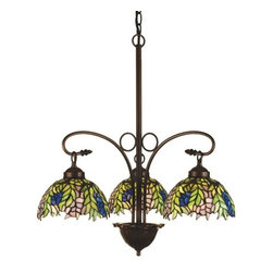 Meyda Tiffany - Meyda Tiffany Honey Locust Three Light Tiffany Chandelier X-51472 - From the Honey Locust Collection, this Meyda Tiffany chandelier features a nature inspired design blended with classic and traditional details that play off the Art Nouveau influencing. The Tiffany art glass shades are made from a number of hues including elegant blues, greens and purples that pair well with the rustic look of the Antique finish.