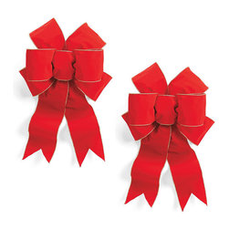 Frontgate - Set of Two Pre-Made Red Outdoor Bows - Rich color and fullness, with your choice or Red, Burgundy, or Plaid. Indoor/outdoor weather resistant. Wired edges hold their shape. Sold as a set of two. Ties on back for easy decorating. Add instant color to wreaths and garlands with our Pre-made Bows. Double-stitched seams with heavy gauge wire shape easily and won't fray. Made of UV-coated, weather-resistant poly-acrylic fabric.  .  .  . . .