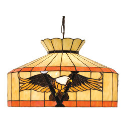 Meyda Tiffany - Meyda Tiffany Victory Eagle Transitional Pendant Light X-97831 - Flying out from a background of creamy beige and orange bands, this American Bald Eagle declares freedom while posing majestically over the Victory V. Handsomely finished in Mahogany Bronze, this Meyda Tiffany Victory Eagle Transitional Pendant Light is a wonderful addition to kitchen islands and living rooms.