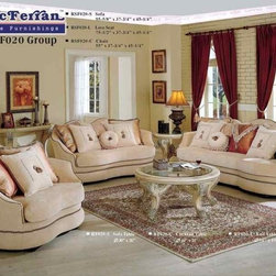 McFerran Home Furnishing - 3 Piece Curves Beige Sofa Set- RSF020-3SET - Set Includes Sofa, Loveseat And Chair