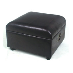 International Caravan - Ottoman Trunk w Dark Chocolate Faux Leather U - Made of faux leather and in Dark Chocolate. Opens up for further storage. 21.5 in. L x 23.5 in. W x 16 in. H