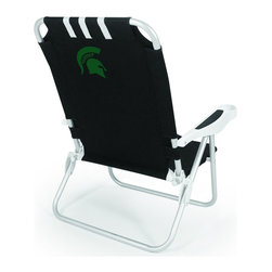 "Picnic Time - Michigan State Monaco Beach Chair Black - The Monaco Beach Chair is the lightweight, portable chair that provides comfortable seating on the go. It features a 34"" reclining seat back with a 19.5"" seat, and sits 11"" off the ground. Made of durable polyester on an aluminum frame, the Monaco Beach Chair features six chair back positions and an integrated cup holder in the armrest. Convenient backpack straps free your hands so you can carry other items to your destination. Rest and relaxation come easy in the Monaco Beach Chair!; College Name: Michigan State; Mascot: Spartans; Decoration: Digital Print"
