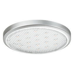 Hafele - Loox LED Surface-ounted Downlight (Cool White) - The LED 2002 down light is characterized by its remarkably flat profile; it is particularly suitable for providing decorative lighting in shelving and display cabinets. Especially suited for garages, pantries, offices, and shelves, the Loox 2002 uses 12V, and emits a cool white light at 5000 Kelvin. With its low profile and surprising brilliance, the 2002 adds an open, relaxed feel to any area.