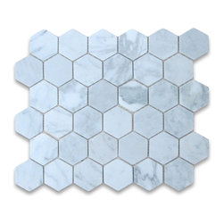"""Stone Center Corp - Carrara Marble Hexagon Mosaic Tile 2 inch Tumbled - Carrara White Marble 2"""" (from point to point) hexagon pieces mounted on a sturdy mesh tile sheet"""