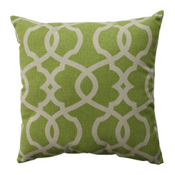Pillow Perfect - Lattice Damask Green, Beige Pillow - - Pillow Perfect Lattice Damask Leaf 16.5-inch Throw Pillow  - Sewn Seam Closure  - Spot Clean Only  - Finish/Color: Green/Beige  - Product Width: 16.5  - Product Depth: 16.5  - Product Height: 5  - Product Weight: 1  - Material Textile: 100% Cotton  - Material Fill: 100% Recycled Virgin Polyester Fill Pillow Perfect - 512754