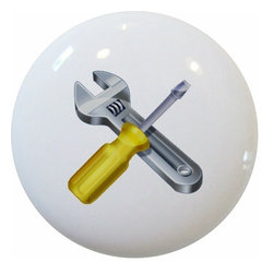 Carolina Hardware and Decor, LLC - Screwdriver Wrench Ceramic Cabinet Drawer Knob - New 1 1/2 inch ceramic cabinet, drawer, or furniture knob with mounting hardware included. Also works great in a bathroom or on bi-fold closet doors (may require longer screws). Item can be wiped clean with a soft damp cloth. Great addition and nice finishing touch to any room!